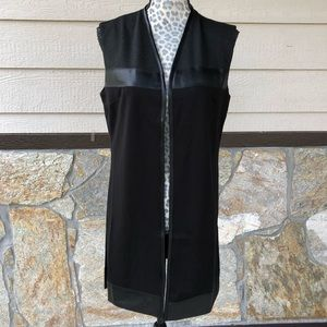Charlie Paige Black Faux Leather Trim Vest Duster